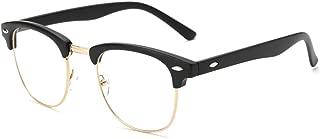 Vintage Inspired Semi-Rimless Clear Lens Glasses Frame