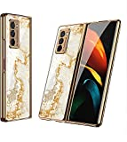 GKK Luxury Tempered Glass Case for Samsung Galaxy Z Fold, Samsung Galaxy Z Fold 2 5G, Case Anti-Knock Plating Edge Hard Cover for Samsung Galaxy Z Fold 2 5G (03, for Samsung Galaxy Z Fold 2 5G)