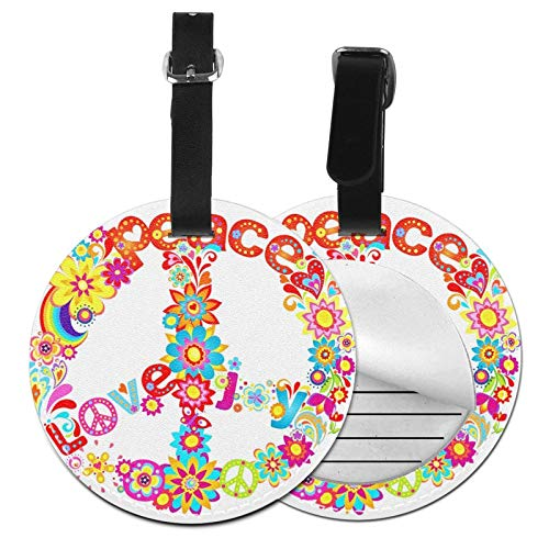 Luggage Tags Love Hippy Peace Flower Suitcase Luggage Tags Business Card Holder Travel Id Bag Tag