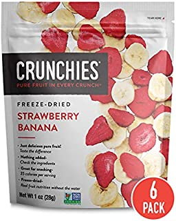 Crunchies Crispy 100% All Natural Freeze-Dried Fruits, 1 Ounce (6 Snack Pack) (Strawberry Banana)