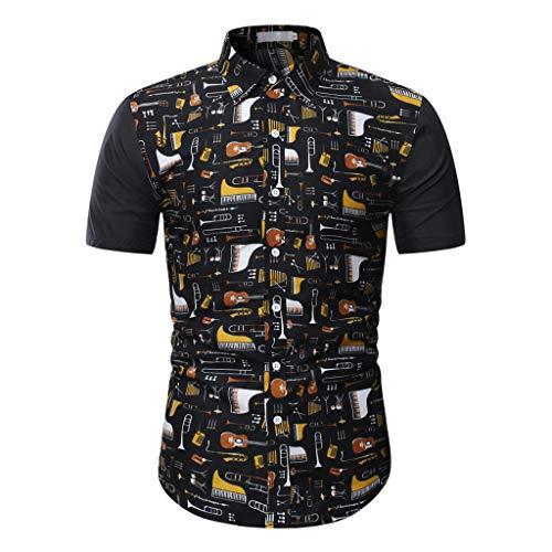 Realde Herren Kurzarm T-Shirt Männer Streifen Patchwork Loose Fit Top Beiläufige Hemdkragen Freizeithemd Bluse Bequem Atmungsaktiv Dünnschnitt Oberteil Größe S-3XL