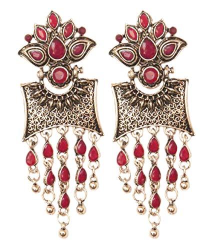 Pahal - Pendientes Jhumka étnicos rosados Kundan oxidados en capas grandes de plata con borla, joyería de boda para mujer