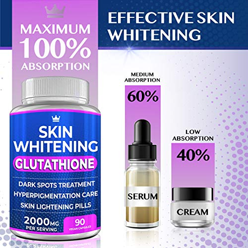 511vF8TEWyL - Glutathione Whitening Pills - 90 Capsules 2000mg Glutathione - Effective Skin Lightening Supplement - Dark Spots, Melasma & Acne Scar Remover, Hyperpigmentation Treatment - Anti-Aging Antioxidant
