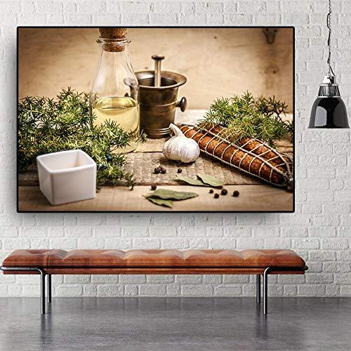 ganlanshu Rahmenlose Malerei Küche Leinwand Malerei Küchenplakat und Druck Restaurant Esszimmer Dekoration Moderne WandkunstCGQ7492 50X75cm