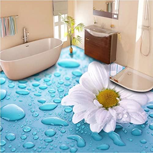 Gotas estereoscópicas 3D, baldosas de vinilo con flores, papel tapiz impermeable para baño, papel tapiz de suelo personalizado, suelo 3D-350cmx250cm