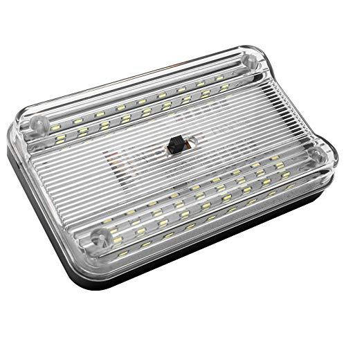 Riloer - Iluminación interior de coche, 36 ledes, iluminación interior de coche, iluminación de techo blanca, plafón para furgoneta, camión, vehículo 12 V, luz con interruptor de 3 velocidades