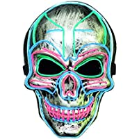 Lukat Halloween Costume Mask with EL Wire Light up 3 Flashing-Modes and Soft Sponge