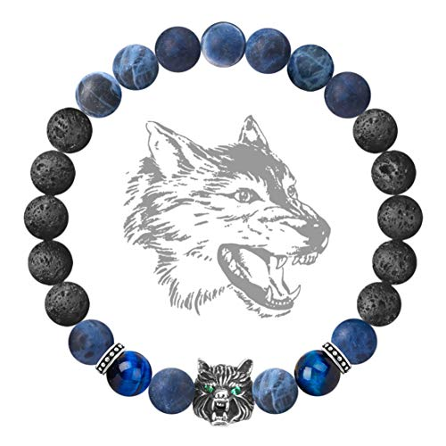 Karseer Antique Silver Viking Wolf Anxiety Relief Energy Bracelet Natural Sodalite Crystal and Lava Stone Beaded Stretch Bracelet Essential Oil Diffuser Chakra Bracelet Friendship Jewelry Gift, 7""