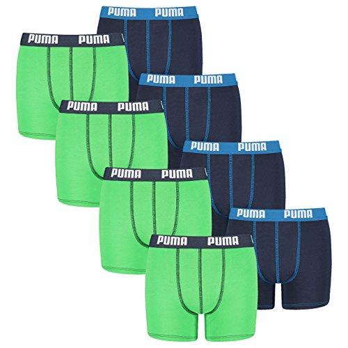 PUMA Junior Boys Boxershort Basic Boys Boxer 4er Pack, Grösse:140 (M);Farbe:Green/Blue (686)