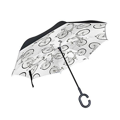 jstel doble capa puede bicicleta paraguas coches Reverse resistente al viento lluvia paraguas para coche al aire libre con asa en forma de C