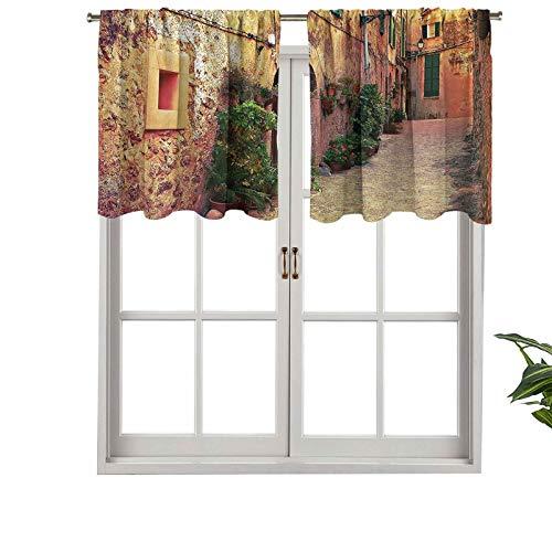 Hiiiman Cenefa de privacidad para interiores y ventanas en Valldemossa Village Mallorca España Vintage Puerta de Turismo de carretera, juego de 1, 132 x 45 cm para puerta corredera de patio o comedor