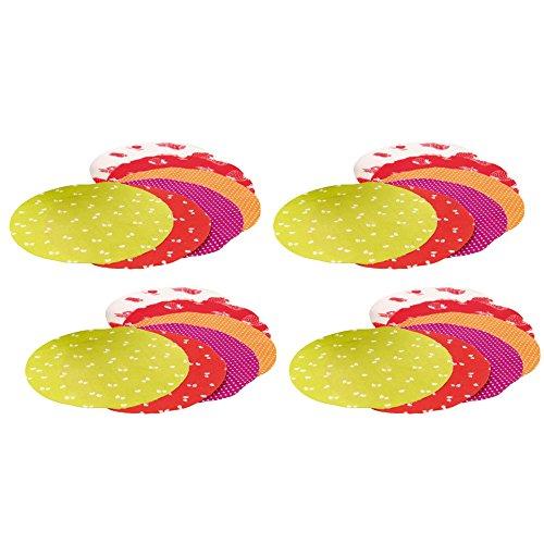 com-four® 24x Schmuckdeckchen für Einmachgläser - Deko für Einmachgläser mit verschiedenen Motiven (24 Stück - Schmuckdeckchen)