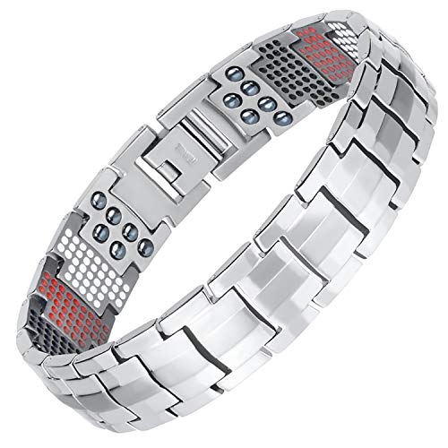 HotTime Double Row Magnetic Therapy Bracelet 4 in 1 Bio Elements Energy Health Care Jewelry Pain Relief for Arthritis and Carpal Tunnel (Plus)
