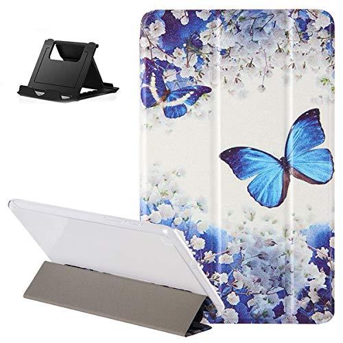Shinyzone Hülle für Samsung Galaxy Tab A 8 2019 SM-P200/P205,Dreifach Trifold Stand Smart Cover mit Auto Schlaf/Wach,Blau Schmetterling Muster Design Leder Flip Transluzent Rückseite Schutzhülle