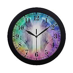 INTERESTPRINT Angel Wings on Rainbow Spiral Round Quartz Wall Clock Large Number Clock for Office School Kitchen Bedroom Living Room Decor, Black