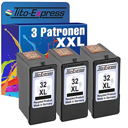 Tito-Express PlatinumSerie 3x Druckerpatrone für Lexmark 32 XL Black X5210 X7310 X7350 X8300 X8310 X8350 Z805 Z810