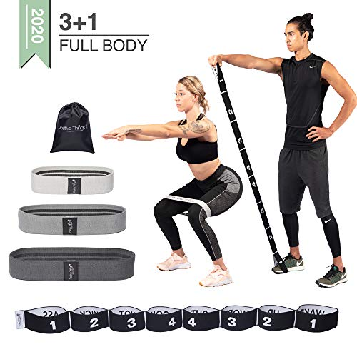 Positive Things Weerstandsbanden 3+1 Pack - Full Body Resistance Bands met Verschillende Weerstandsniveaus - Premium Kwaliteit Stof - Anti Slip Trainingsbanden - Fitness Elastieken Set