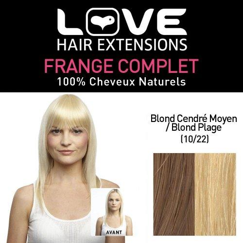 Love Hair Extensions - LHE/FRA1/QFC/CIF/10/22 - 100 % Cheveux Naturels - Frange Complete - Couleur 10/22 - Blond Cendre Moyen / Blond Plage