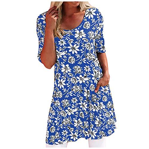 IFOUNDYOU Kleider Damen Sommer Elegant Große Größe Kurzarm Rundhals Drucken T Shirt Kleid Lässige mit Taschen Weite Minikleid Vintage Strandkleider Kurz Kleid