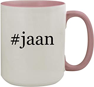 #jaan - 15oz Hashtag Colored Inner & Handle Ceramic Coffee Mug, Pink