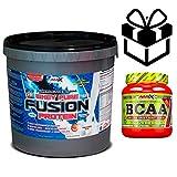 Amix Whey Pure Fusion 4 kg Frutas del Bosque + Bcaa Instant + Mezclador