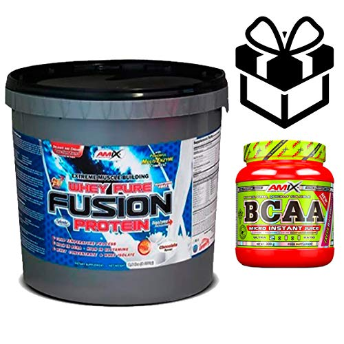 Amix Whey Pure Fusion 4 kg Chocolate + Bcaa Instant + Mezclador