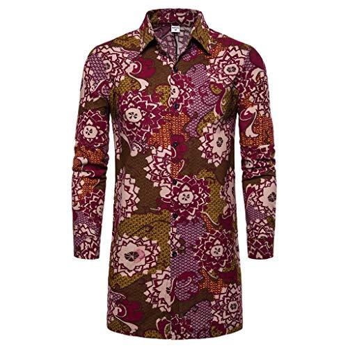 CAOQAO Camisa Hawaiana Hombre Otoño Invierno Suelta Nacionalidad Impreso Manga Larga Outwear Blusa