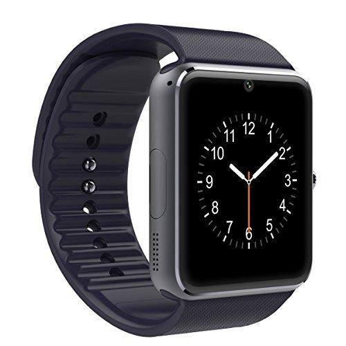 Shop-STory Smartwatch, bluetooth, voor heren en dames, armband van kunststof, wijzerplaat van staal, compatibel met Android iPhone, zwart