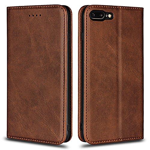 Funda iPhone 8 Plus,Funda Piel para iPhone 7 Plus,Copmob Funda Cuero Premium Carcasa Case Soporte Plegable, Ranuras para Tarjetas y Billetes,Cierre Magnético para iPhone 8 Plus/7 Plus - Marron oscuro