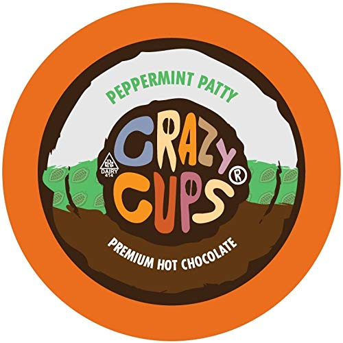 Crazy Cups Hot Chocolate Pods, Peppermint Patty Hot Cocoa K Cups, Hot Chocolate for Keurig Brewing Machines, Single Serve Peppermint Hot Chocolate in Recyclable Pods, 22 Count