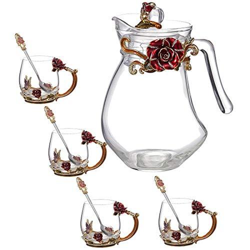 YSYDE Thee Mok Set van 5, Kristal Thee Cup Koffie Mok Set, De Loodvrije Glas Is Transparanter En Helder, Die zal worden meer Gezond voor Menselijk Lichaam, Het is Beste Gift