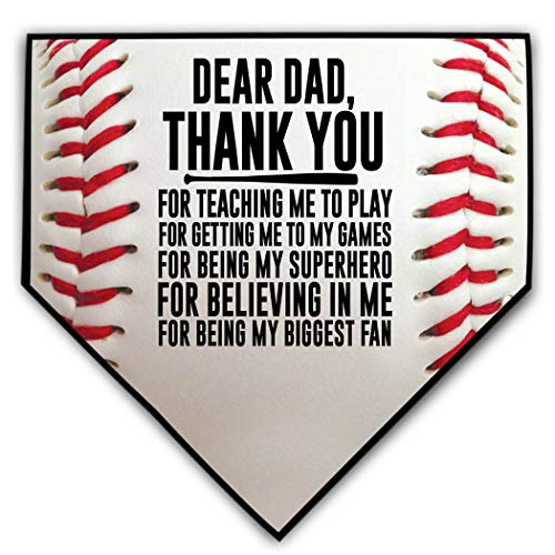 ChalkTalkSPORTS Baseball Stiches Home Plate Plaque | Dear Dad | Ready to Autograph