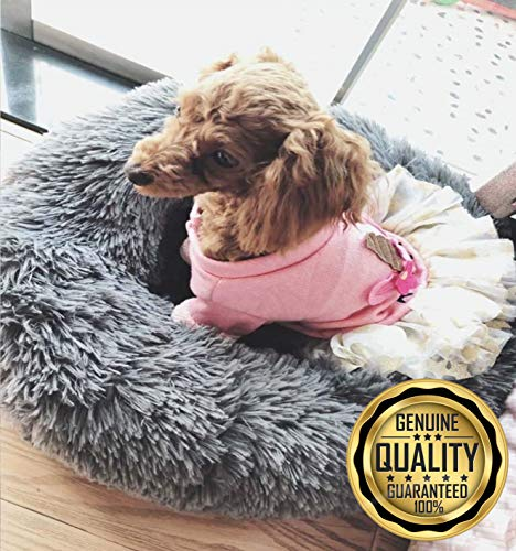 Luxury Fuax Fur Donut Cuddler. Our Calming Pet Bed has an Orthopedic Nesting Style to give Your pet The Best Sleep. Our Dog and Cat Beds are Ultra Soft and Comfortable. (Small, Grey)