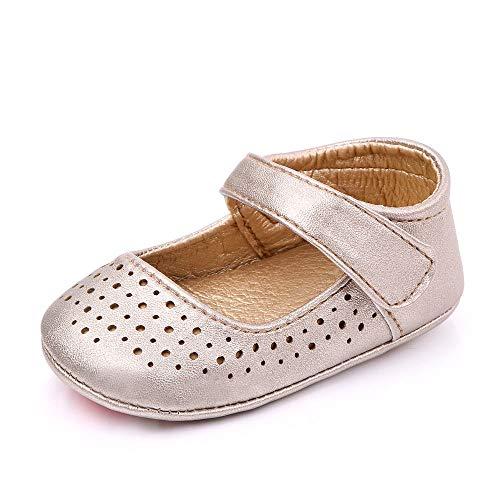 MK Matt Keely Baby Mädchen Rutschfeste Lauflernschuhe Weiche Babyschuhe Prinzessin Schuhe Baby Mädchen Krippe Schuhe Gold 6-12 Monate