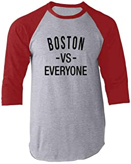Pop Threads Boston vs Everyone New England Sports Fan Raglan Baseball Tee Shirt