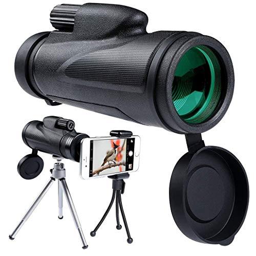 KZEN 40X60 Monocular-Teleskop, BAK4 Prisma HD Wasserdichtes Teleskop & Stativ, Geeignet Für Wandern, Jagd, Vogelbeobachtung, Reise (Schwarz)
