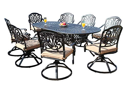 GrandPatioFurniture.com CBM Patio Elisabeth Collection Cast Aluminum 9 Piece Dining Set with 8 Swivel Rockers SH211-8S CBM1290