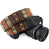 Wolven Pattern Canvas Camera Neck Shoulder Strap Belt Compatible with All DSLR/SLR/Men/Women etc, (Yellow Stripe Pattern)