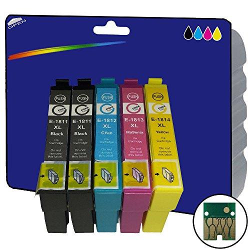 Conjunto de 1+ 1Color Negro XL Cartuchos de tinta NO OEM Compatible para Epson Expression Home XP-30XP-102XP-202XP-205XP-212XP-215XP-225XP-302XP-305XP-312XP-315XP-322XP-325XP-402XP-405XP-405WH XP-412XP-415XP-422XP-425impresoras E1811–4Negro, Cian, Magenta y amarillo