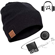 Bluetooth 5.0 Beanie Mütze Kopfhörer mit Lautsprecher, Frauen Männer Musik Hut Strickmütze Headset Mikrofon Freisprechfunktion für Outdoor Sport Eislauf Wandernder Kampierendes
