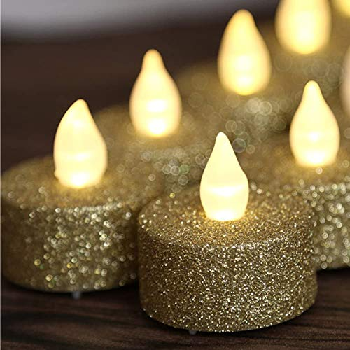 Gold Tea Lights,Battery Operated Flameless LED Tea Light,Gold Glitter Flickering Electric Fake Candles for Wedding, Party,Festival Christmas Decorations,Pack of 12