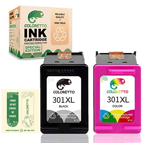 COLORETTO Cartucho de Tinta Remanufacturado para HP 301XL 301 XL Compatible con Deskjet 1000 1050 2512 2540 3000 3050A 1514 2000 2514 (Edición Especial Incluye 2 marcapáginas) (1 Negro ,1 Tricolor)