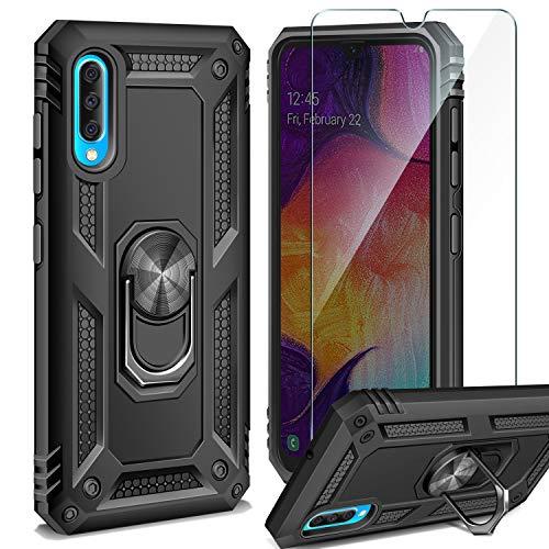 ivencase Funda Samsung Galaxy + Cristal Templado, 360 Anillo iman Soporte, Hard PC y Silicona TPU Bumper antigolpes Case Carcasa