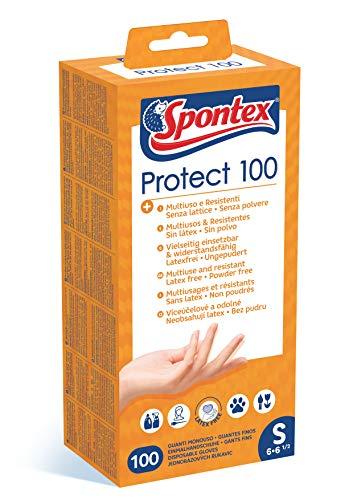 Spontex Protect 100 - Guanti Monouso in Vinile, Senza Polvere e Senza Lattice, Multiuso, in Pratica Scatola Dispenser, Misura S, Confezione da 100 Pezzi