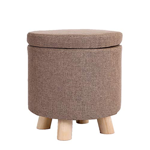 Multifunctional Storage Footstool Ottoman Stool Soft Padded Footstool Removable And Washable Cover for Easy Storage,Brown,L