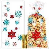 100pcs Bolsas de Celofan de Copo de Nieve, Navidad Bolsa de Dulces con 200pcs Lazos Retorcidos para Caramelos Galletas Regalo