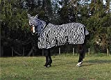 Jump Equestrian Horse Fly Rug Zebra Print Full Neck All In One Belly And Tail Flap Elastic Neck With Free Fly Mask (6'3'')