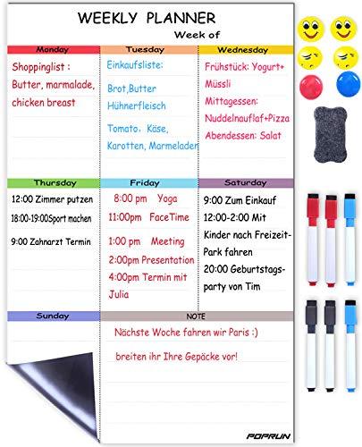 POPRUN Abwischbarer Wochenplaner magnetischer Wochenkalender Terminplaner Magnettafel Kühlschrank Whiteboard Kalender für Küche Einkaufsliste und Essensplan 43 x 28 cm