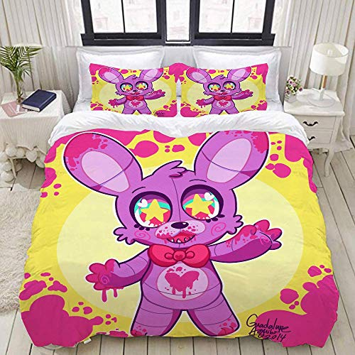 877 ZAEVO Duvet Cover Sets 3D Five Nights At Freddy's Printing Cartoon Bedding Set With Zipper Closure 100% Polyester Gift Duvet Cover 3 Pieces Set With 2 Pillowcases K-AU Single53*79'(140x210cm)