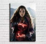Avengers,Scarlet Witch,Elizabeth Olsen,Oil Paintings Modern Canvas Prints Artwork Printed on Canvas Wall Art for Home Office Decorations-791 (Unframed,12x18inch)